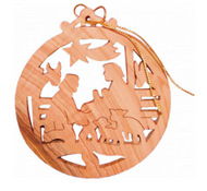Ornament, olive wood, round Nativity