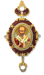 Ornament, icon of St. Nicholas in a red oval frame
