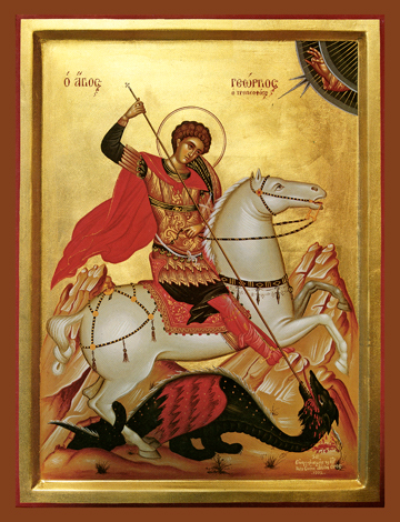 Saint George slaying the dragon, small icon