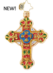 Christopher Radko Glass Ornament, Baroque Cross