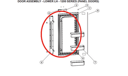 Norcold Lower Left Hand Door 627978 (fits the 1200 model) - panel type door w/ flapper