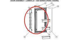Norcold Lower Left Hand Door 627978 (fits the 1200 model) - panel type door w/ flapper