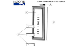 Norcold Lower Left Hand Door 627943 (fits the 1210/ 1211 models) panel type door
