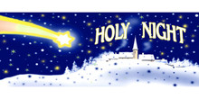 Holy Night Christmas shooting star and Bethleham banner