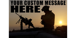 Your Custom Message Here with soldier silhouette and sunrise banner