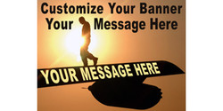 Customize Your Banner Your Message Here with soldier walking on the wing banner