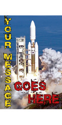 Your Message Goes Here with rocket lift-off banner