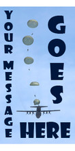 Your Message Goes Here vertical banner with parachutes