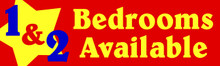 1 & 2 Bedrooms Available banner