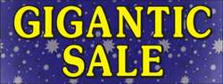 Gigantic Sale purple blue background and yellow font banner