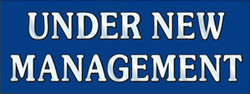 Under New Management blue banner