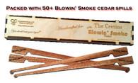 The Blowin' Smoke standard spillbox filled with 50+ Blowin' Smoke branded cedar spills.
