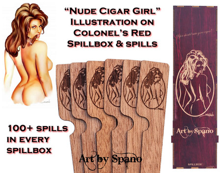 """Nude Cigar Girl"" Colonel's Red Spillbox with Illustration"