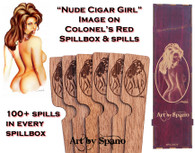 """Nude Cigar Girl"" Colonel's Red Spillbox with Image"
