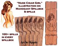 """Nude Cigar Girl"" Mahogany Spillbox with Illustration"
