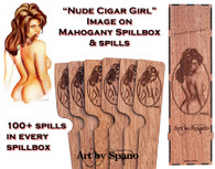 """Nude Cigar Girl"" Mahogany Spillbox with Image"