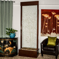 Bamboo Etched Gardenfall with Dark Copper Trim