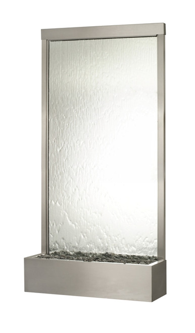 Grande Floor Fountain with Stainless Steel Trim, Silver Mirror Water Panel