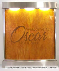 Water Gallery Stainless Steel Wall Fountain with Copper Panel and Logo
