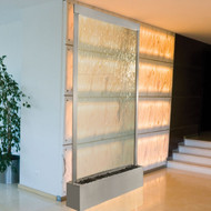 Grande Waterwall Fountain with Stainless Steel Trim and Clear Glass Water Panel