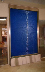 Blue Glass Indoor Waterfall with Stainless Steel Trim