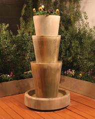 Gist Decor Tri Level Jug with Planter Outdoor Stone Fountain
