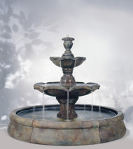 Henri Studio Finial Spill in Crested Pool Outdoor Stone Fountain