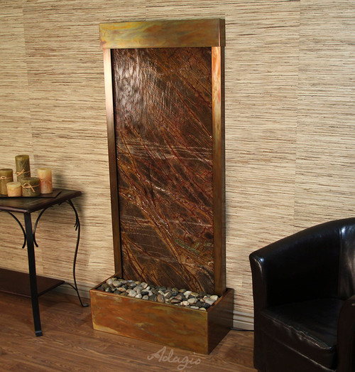 Harmony River Fountain with Rustic Copper Trim and Brown Marble