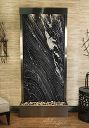 Tranquil River Floor Fountain with Stainless Steel Trim and Black Spider Marble