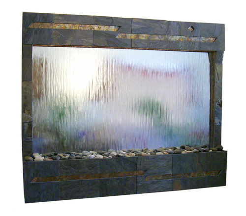 Arizona Wall Fountain shown with Dark Multicolor Slate and Silver Mirror Water Panel