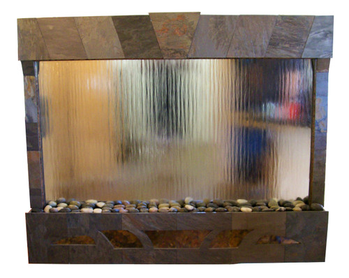 Arizona Tribal Sunset Wall Fountain shown with Dark Multicolor Slate and Silver Mirror