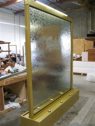 Custom Glass Waterfall with Gold Frame