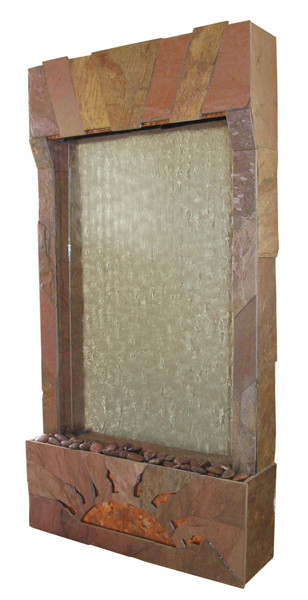 The Ra Wall Hanging Fountain with Sedona Red Slate