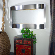 Contempo Horizontal Wall Fountain shown in Stainless Steel Trim with Silver Mirror.