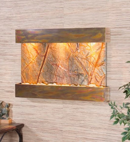 Rustic Copper Trim with Brown Rainforest Marble