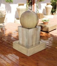 Gist Decor Obtuse with Ball Outdoor Stone Fountain Obtuse with Ball shown in Sierra finish