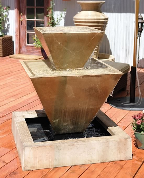 Gist Decor Double Oblique Outdoor Stone Fountain Shown in Sierra finish