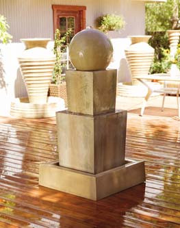 Gist Decor Double Obtuse with Ball Outdoor Stone Fountain Shown in Sierra finish