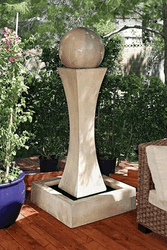 Gist Decor I Fountain with Ball Outdoor Stone Fountain shown in Ancient finish