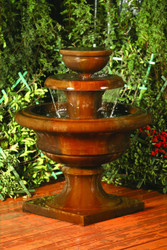 Gist Decor Liveo Outdoor Stone Fountain shown in Chestnut finish