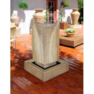 Gist Decor Ribbed Monolith Outdoor Stone Fountain shown in Sierra finish