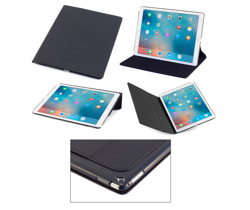 iPad Pro 12.9 Case, DEVICEWEAR Ridge - Thin Black Vegan Leather, 6 Position Flip Stand, Magnetic On/Off Switch for Apple iPad Pro / iPad Pro 12.9 inch