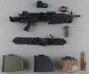 Crazy Dummy - Machine Gun - MK.46 Para - X2 Box Magazine - Box Magazine /w Woodland Camo Cover - Strap - EOTech Sight - Foregrip - Laser Sight- Black/Olive