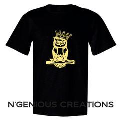 N'GENIOUS CREATIONS SIGNATURE OWL TEE- GOLD METALLIC EDITION
