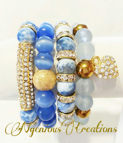 GEMSTONE 4PC BRACELET SET (VARIOUS COLORS)