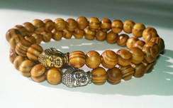 BUDDHA STRETCH BRACELET WITH WOOD BEADS