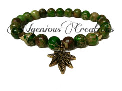GREEN GEMSTONE MARIJUANA BRACELET