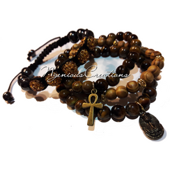 MEN'S BROWN 4PC BRACELET SET