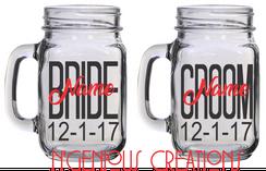 PERSONALIZED BRIDE AN GROOM MASON JARS (2PC SET)
