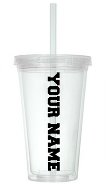 PERSONALIZED CLEAR TUMBLER WITH STRAW